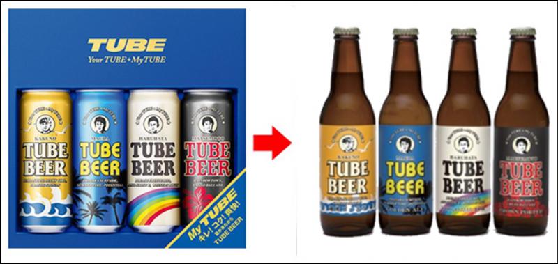 左がTUBEのアルバム。右が実際のTUBEビール。