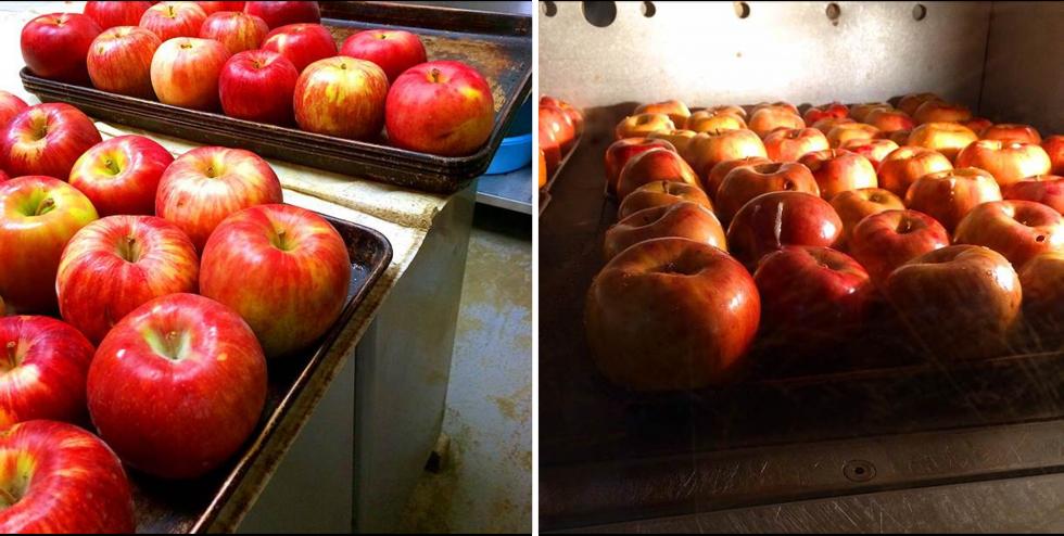 アップルシナモンエールの出来るまで。リンゴを並べて焼く