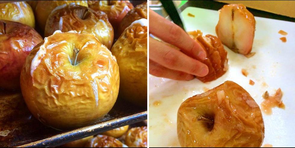 アップルシナモンエールの出来るまで。焼リンゴを細かく切る