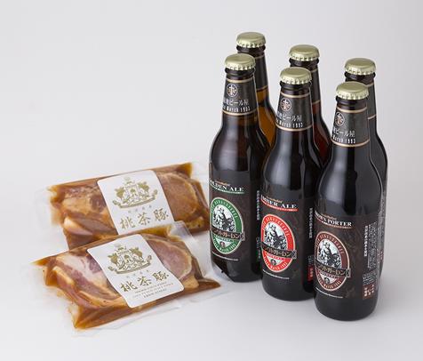 金賞ビール+桃茶豚の味噌漬け (ビール6本、豚漬け2枚)