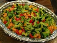 海老と野菜のガーリックソース炒め
